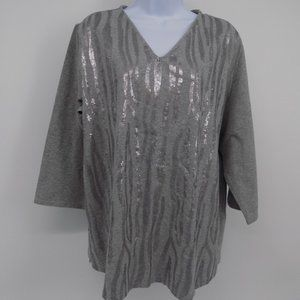 'Quacker Factory' Silver/Grey Top w/Sequins NWOT's